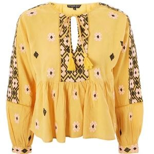 TOPSHOP Embroidered Ruffle Hem Yellow Top Size 4